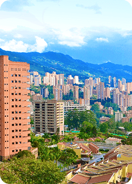 High building apartments situated in Medellin.