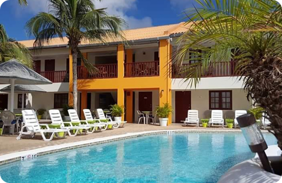 Different Quality Apartments and Suites located in Oranjestad on the island Aruba.