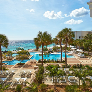 The Marriott Beach Resort at the John F. Kennedy Boulavard on the island of Curaçao.