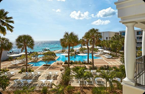 The Marriott Beach Resort at the John F. Kennedy Boulavard on the island of Curaçao.